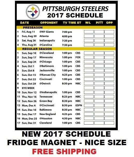 b71376b1 $3.95 - Large Size 2018 Pittsburgh Steelers Nfl Football Schedule ...