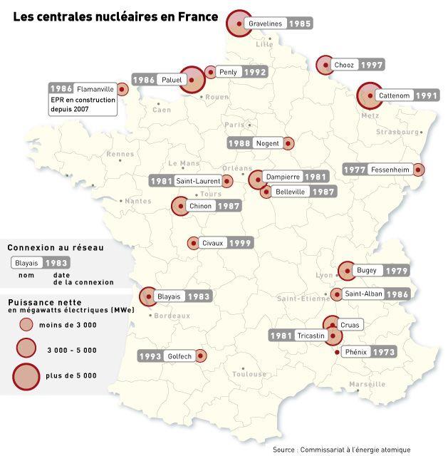 Fabuleux Carte des centrales nucléaires en France | France - Cartes  XR19