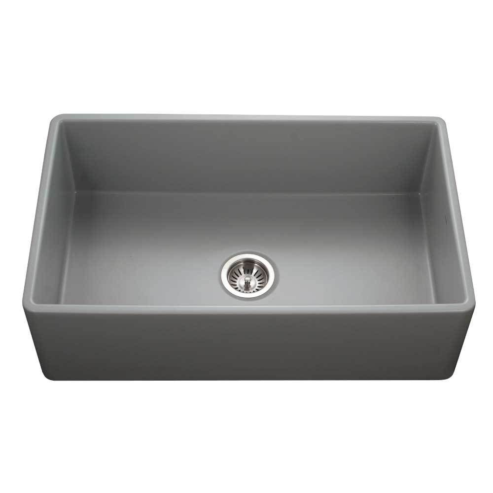 Houzer 33 Fireclay Single Bowl Farmhouse Kitchen Sink Gray Platus Series Ptg 4300 Gr Apron Sink Kitchen Farmhouse Sink Kitchen Rustic Kitchen Design