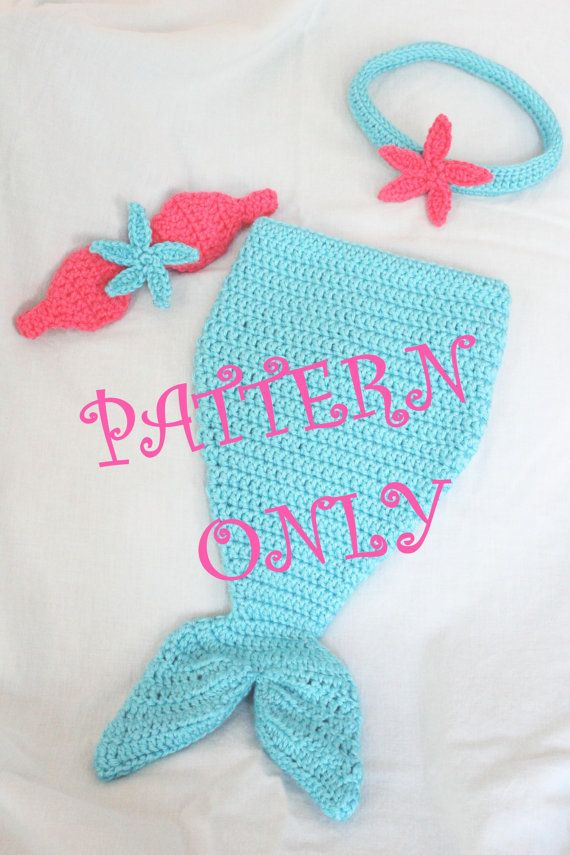 Pattern Crochet Baby Mermaid Tail With Starfish Top Headband For