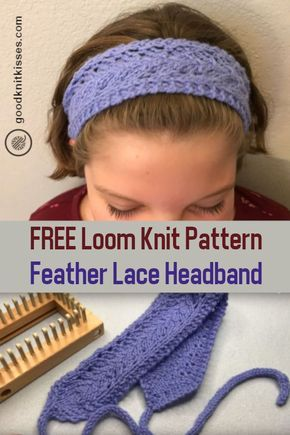 Loom Knit Easy Lace Headband Pattern and How To Tutorial Video