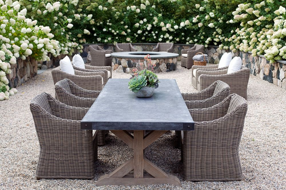 Restoration Hardware Salvaged Wood And Concrete Table Patio By Artemis Landscape Architec Patio Dining Furniture Outdoor Dining Furniture Outdoor Dining Table