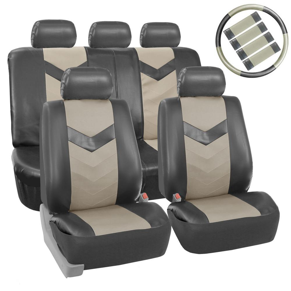 For VW New Black Grey PU Leather Mesh Car Truck Seat Covers Gift Set