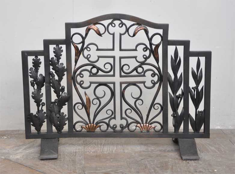 antique fireplace screen. antique fire screen with cross of lorraine fireplace a