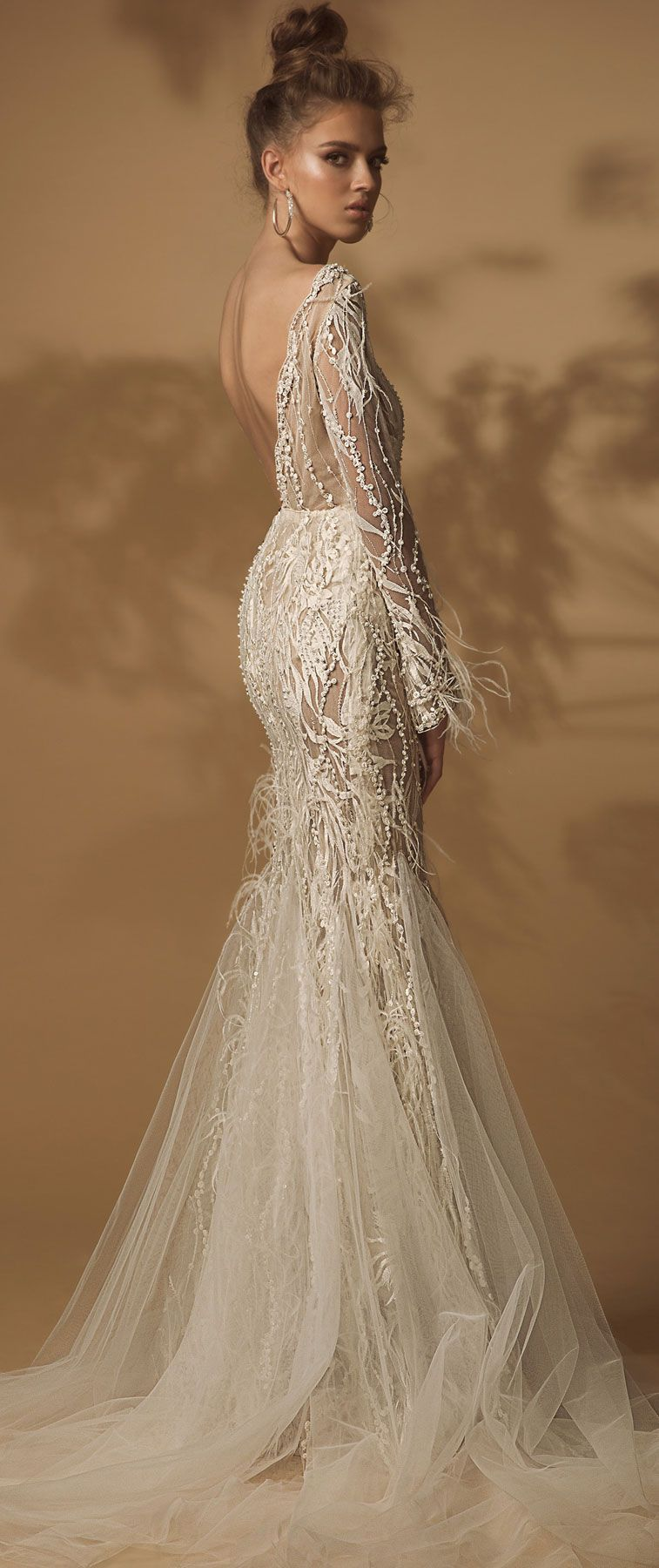 Long sleeves heavy embellishment fit and flare wedding dress #wedding #weddingdress #weddinggown