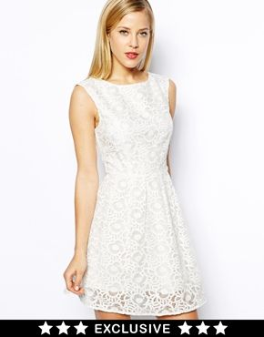 Oasis Exclusive Floral Organza Lace Skater Dress