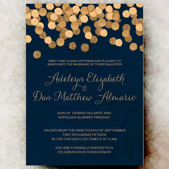 2018 年の blue gold wedding invitation christmas wedding invitation