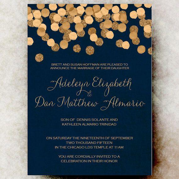 Blue Gold Wedding Invitation Christmas