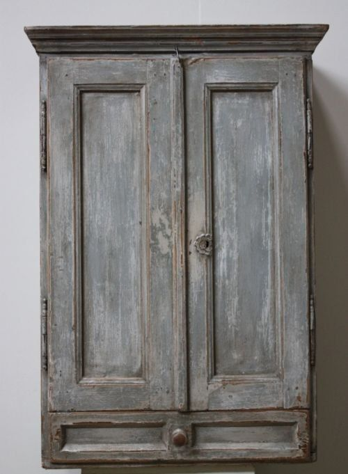 antique austrian painted pine wall cupboard | interiors