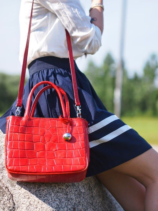 Summer preppy with red Furla bag