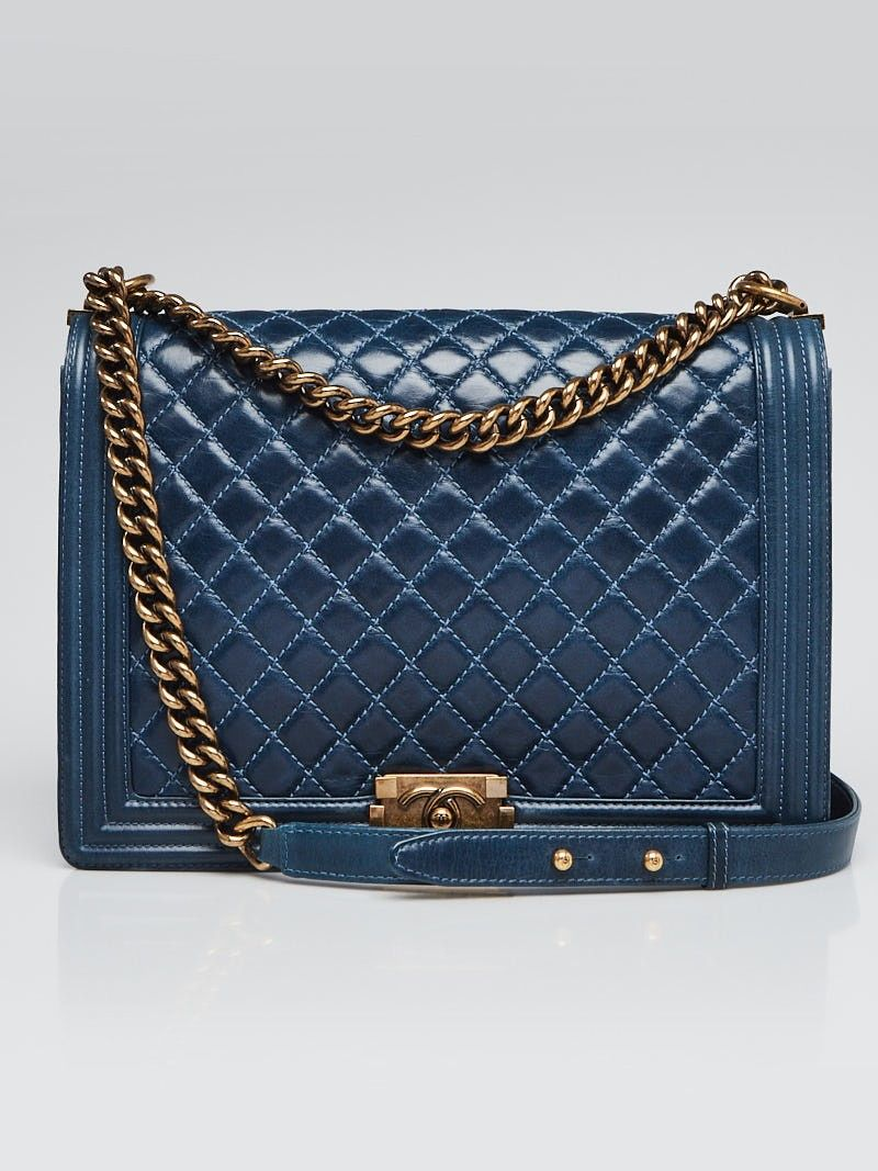 1ac8cb55f259 Chanel Blue Quilted Calfskin Leather Large Boy Bag - Yoogi's Closet (USD ...