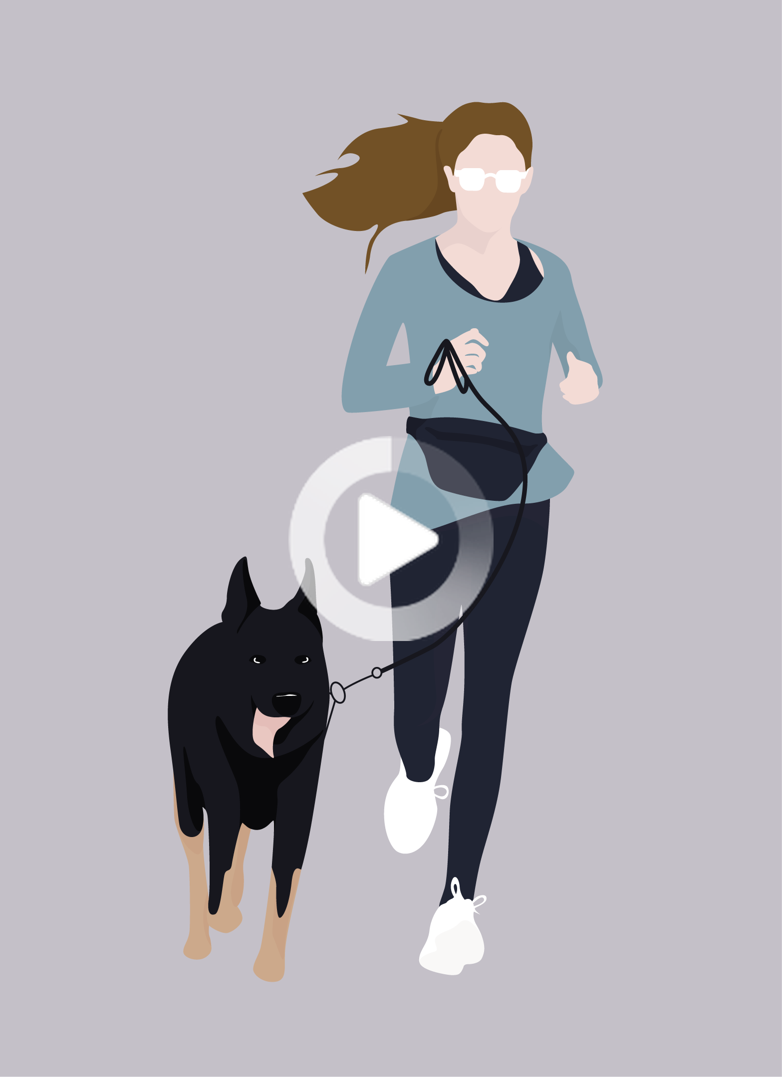 Flat Vector Woman Running With Her Dog Fish Illustration She Dog Drawing S