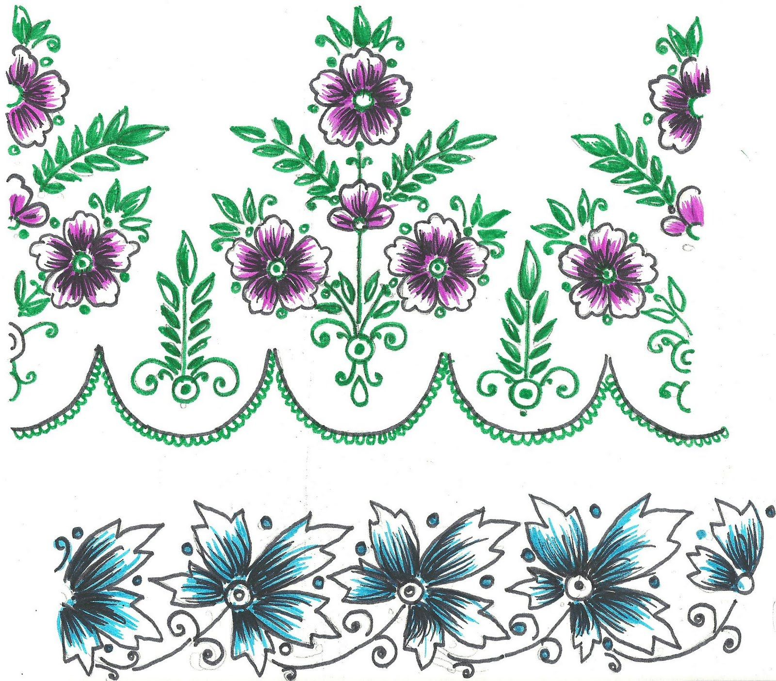 Free Hand Embroidery Flowers Patterns | saree and table-cloth border design.