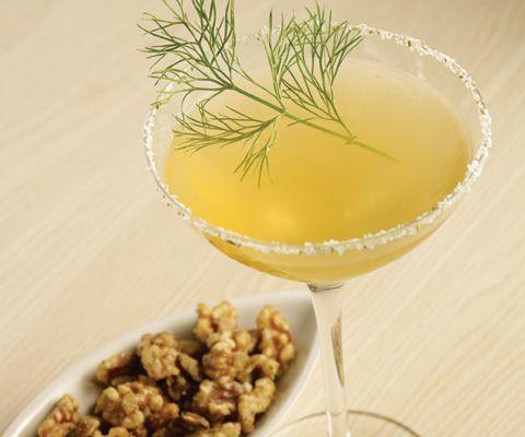 """fennel crush""- blood orange juice, fennel- infused vodka, honey, fennel salt and fresh fennel frond"