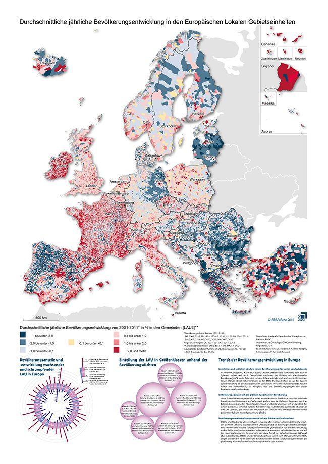 Europakarte: Durchschnittliche jährliche Bevölkerungsentwicklung in den Europäischen Lokalen Gebietseinheiten