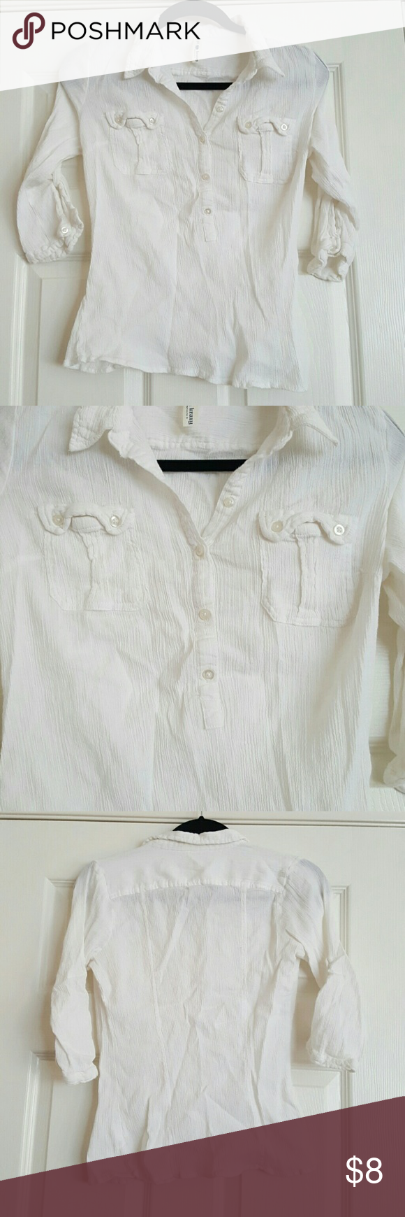 Sheer white half button up Beachy top! So cute and sheer. EUC. I ship same/next day. Ask any questions!! Vintage  Tops