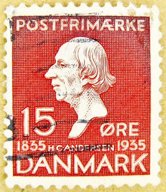 Great Stamp Danmark 15 Ore Hans Christian Andersen H C 1805 1875 Poet Literary Writer Stamp Denmark Danmark Timbre Danemark Postage 15 Ore Red Selo Dinama Denmark Stamp Stamp Collecting