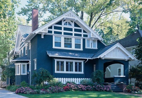 Superb Trendy Colors House Exterior Paint Color Schemes Blue White Accents