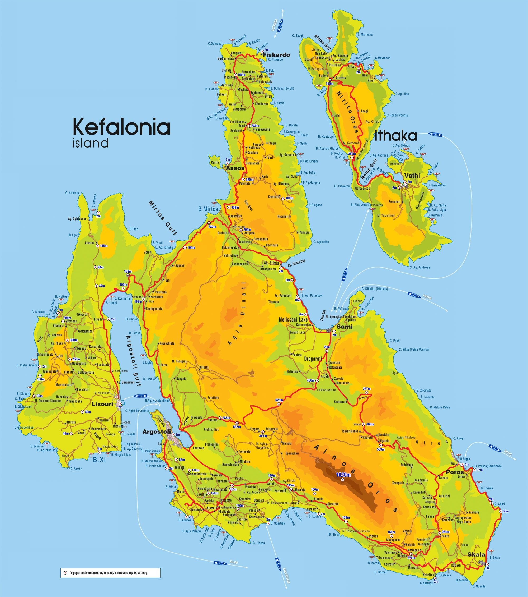 Map Of Kefalonia Ithaca Greece Kefalonia Tourist Map Greek
