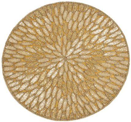 SARO LIFESTYLE 3517.GL15R 4-Piece Round Placemat, 15-Inch, Gold