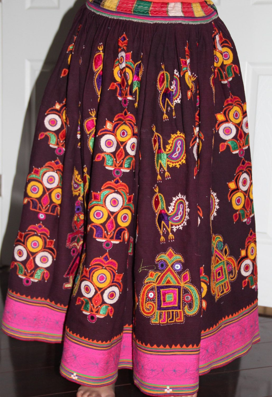9f4b14a65a521b Beautiful Original Vintage Rabari Ghagra{Skirt} with Kutchi hand embroidery  accentuated with mirror work in Deep Eggplant colour by EleganceByRajul on  Etsy