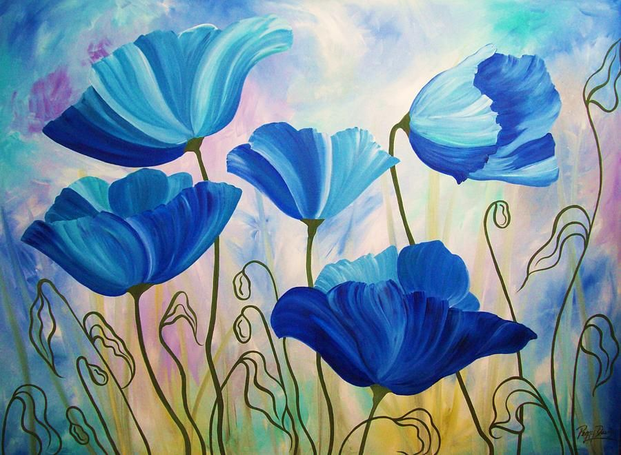 Abstract Painting Blue Poppies By Peggy Davis Poppy Flower Painting Poppy Painting Abstract Poppies