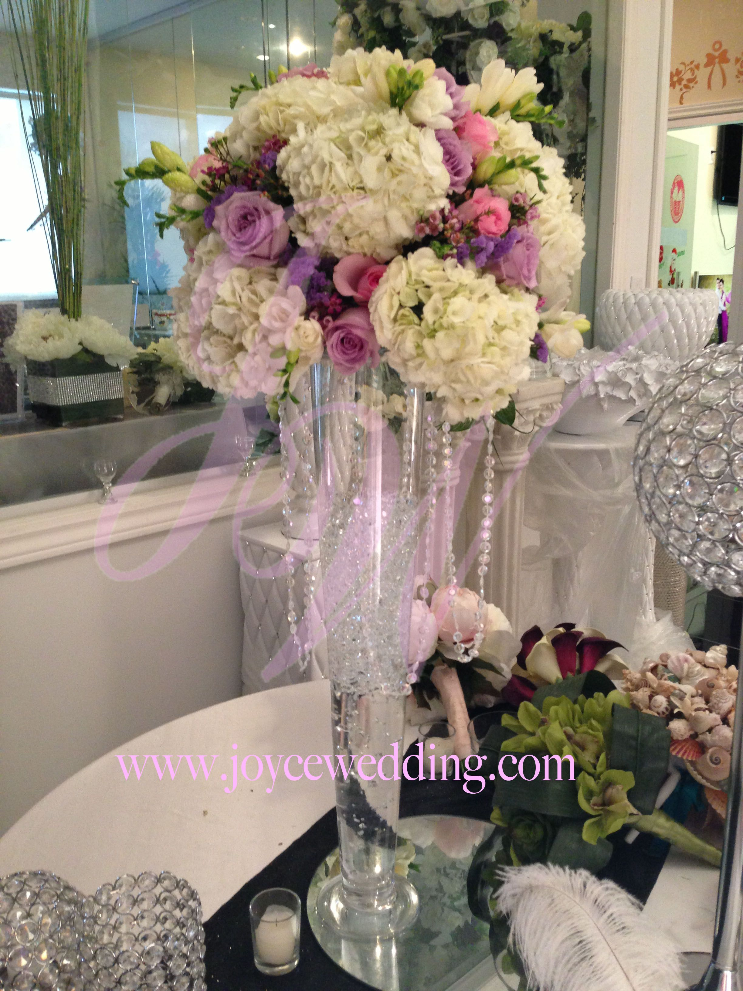 White hydrangeas lavender and pink roses and freesia centerpieces white hydrangeas lavender and pink roses and freesia centerpieces with crystal 1 junglespirit Images