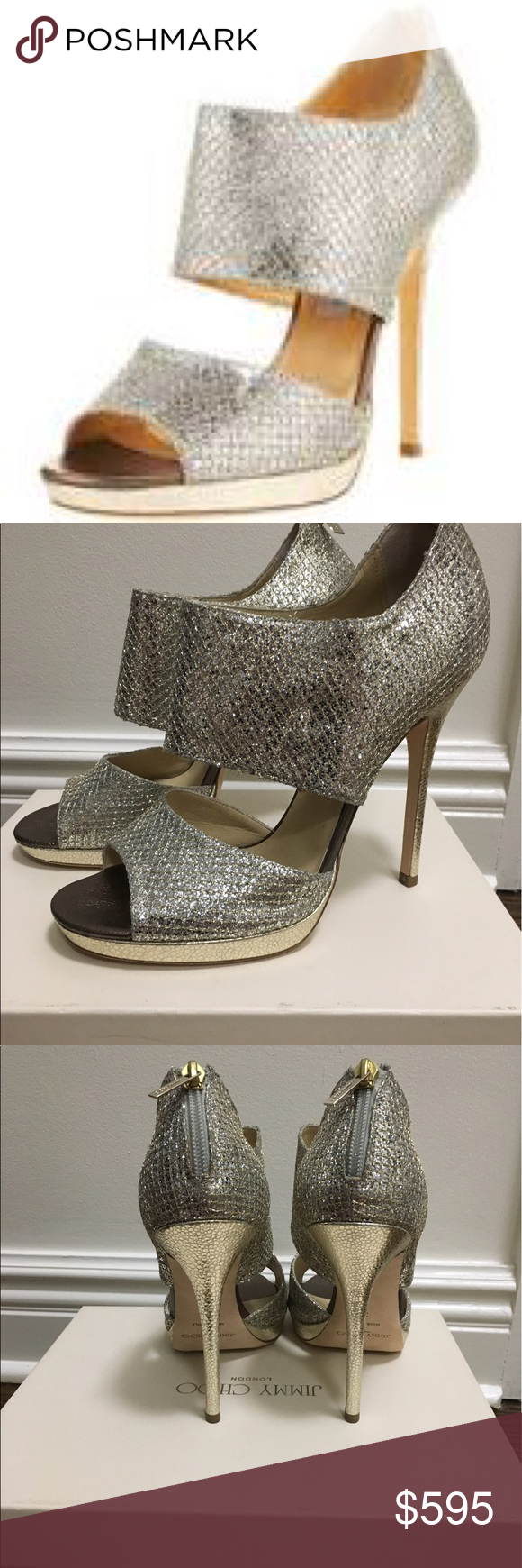 c8602ae29100 Jimmy Choo Private Champagne Glitter Sandals Brand New Size 39 Jimmy Choo  Glitter Sandals. Color is Champagne. They were never worn and purchased at  Saks ...