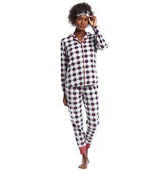 Zoe & Bella @BT Mask Blue Plaid Pajama Set