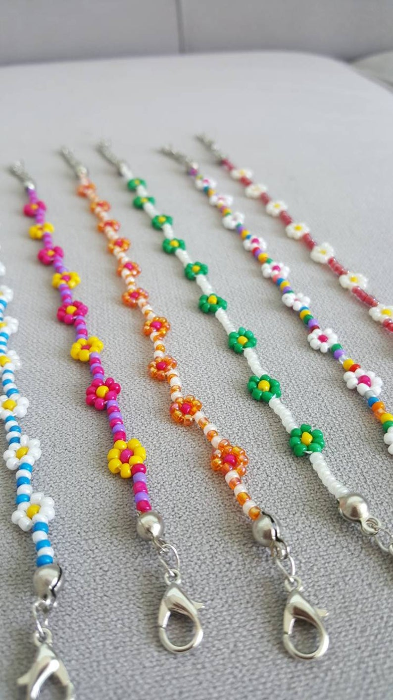 Photo of Beaded flower necklace , daisy necklaces for women , colors seed bead flower choker , beaded daisy necklace , motif necklace ,daisy jewelry