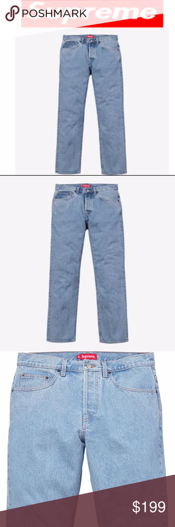 Supreme Washed Regular Jeans 5 Pockets Embroidered Supreme Blue Washed Regular Jeans 5 Pockets Embroidered Logo On Back Pocket 32 Fashion Denim Jeans Style