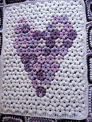 Free Pattern For Puff Flowers Flower Granny Square Afghan From