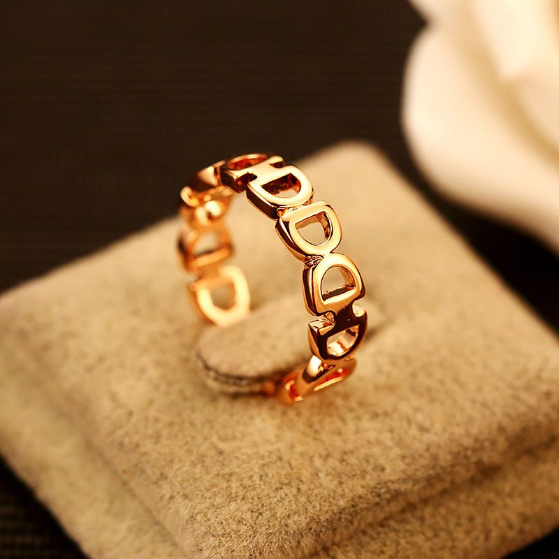 2017 New AGOOD Brand D Letter Hollow Rings Rose Gold Metal Simple