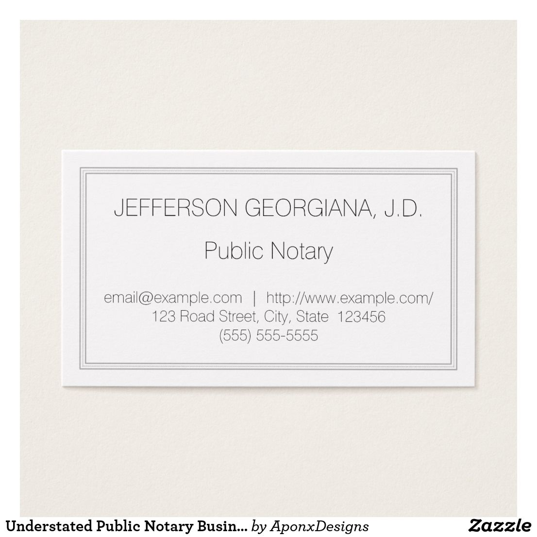Understated Public Notary Business Card | Customizable Business ...