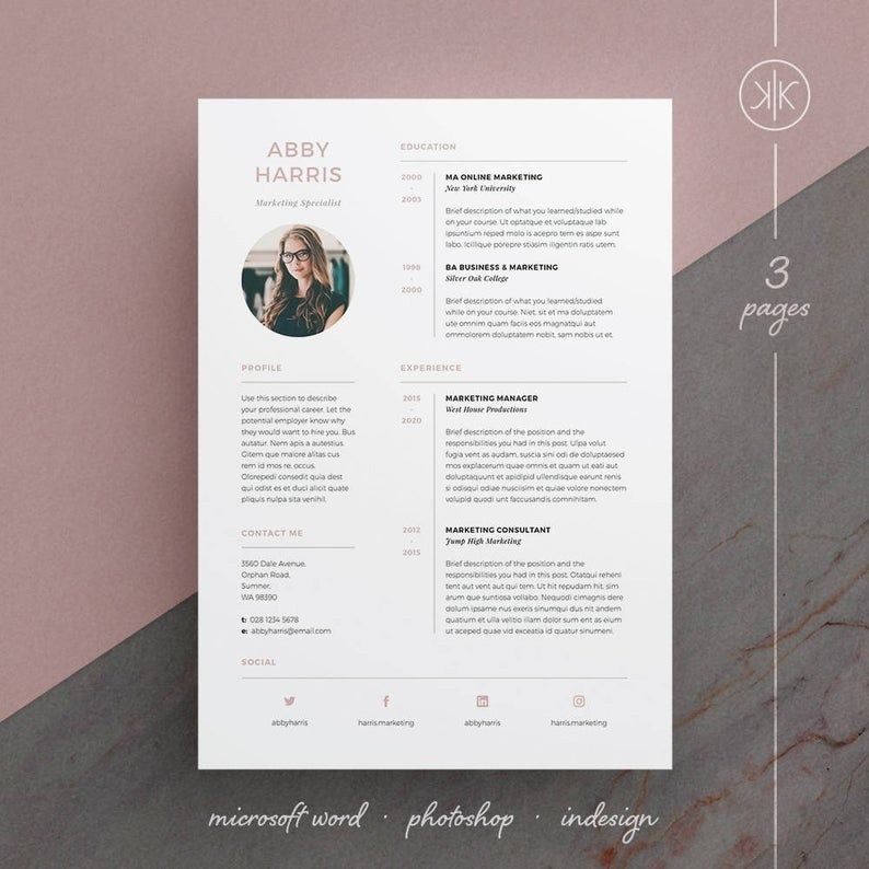 Ab Resumecv Template Word Photoshop Indesign Professional Resume Design Cover Letter Instant Resume Design Resume Design Creative Cv Template Word