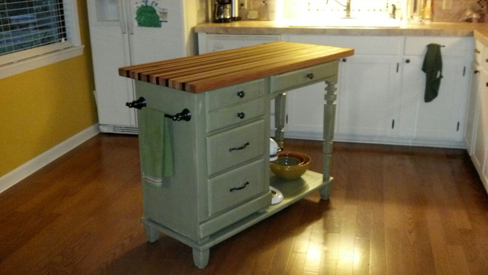 Repurposed Desk With Butcher Block Top For The Humble
