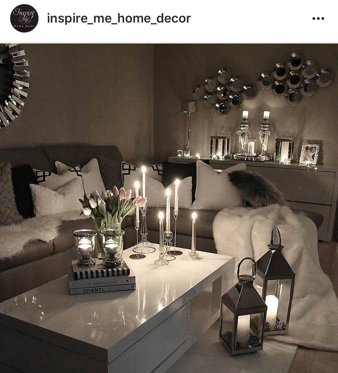 Silver Home Decor: Seating Area :: Lanterns:: Candles :: White Sliver Mirror