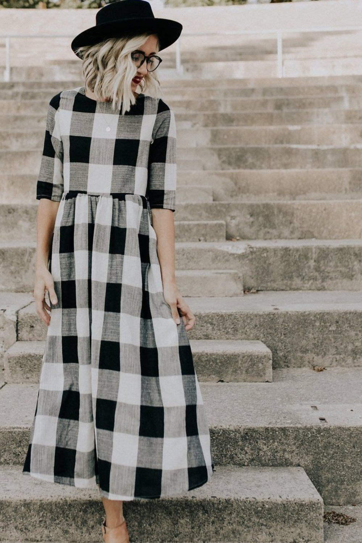 Park Art|My WordPress Blog_Plaid Mini Dress Black And White