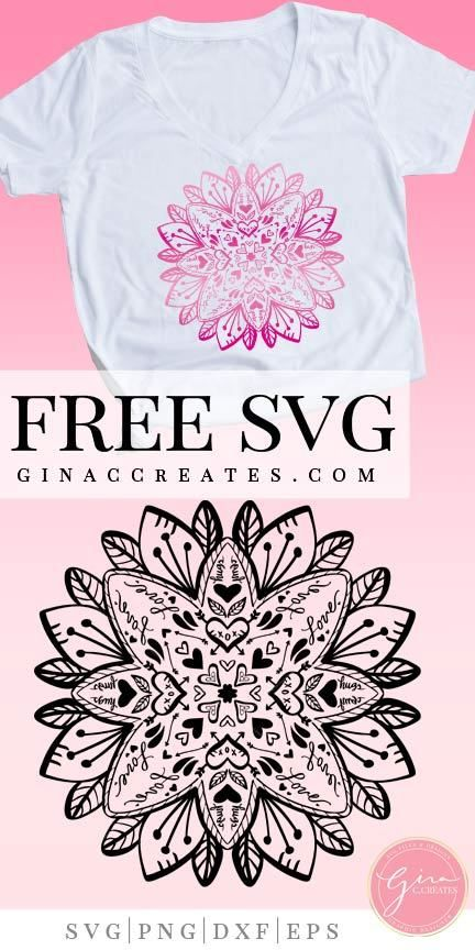 Valentine's Day Mandala | Free SVG Cut File #cricutcrafts