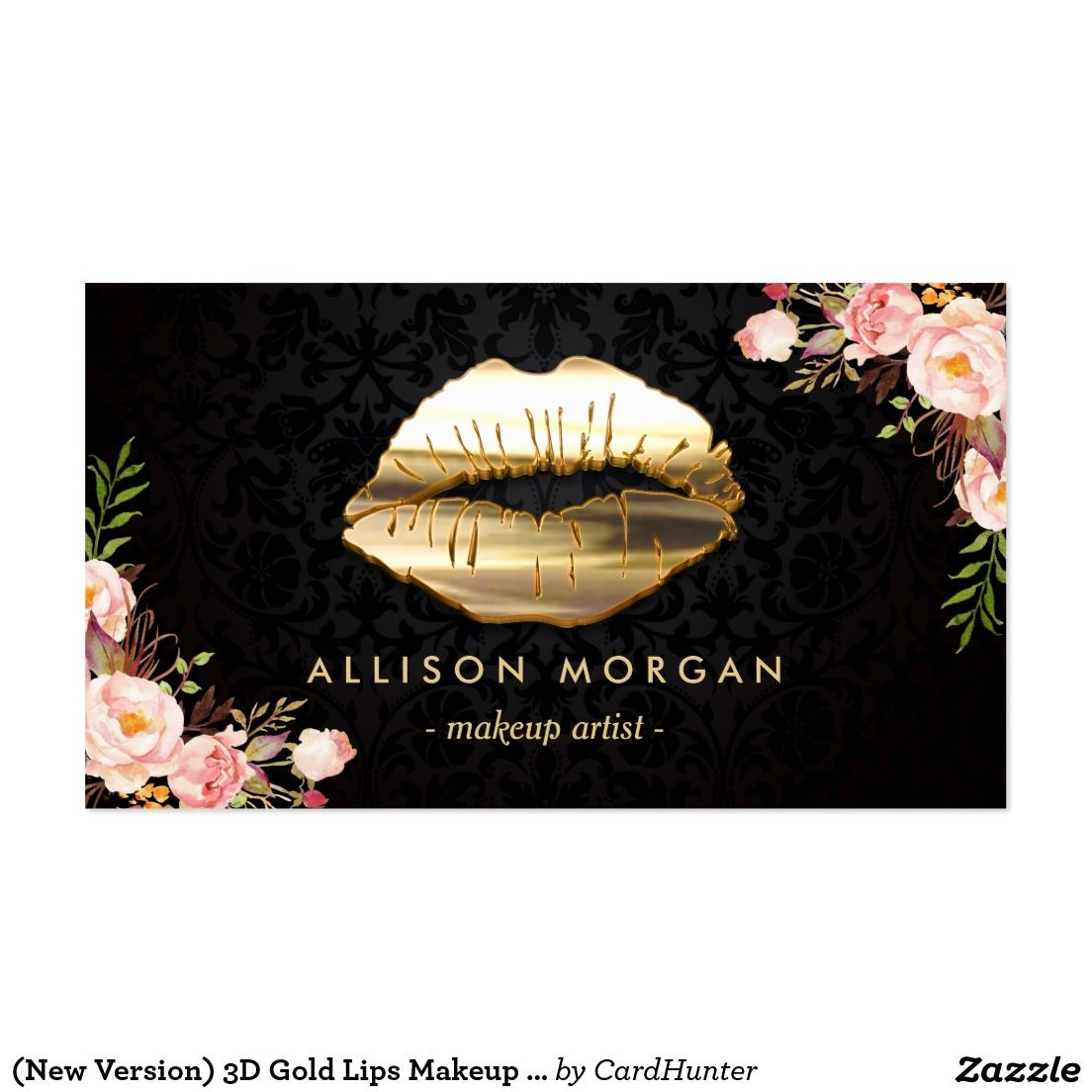 New Version) 3D Gold Lips Makeup Artist Floral Business Card ...
