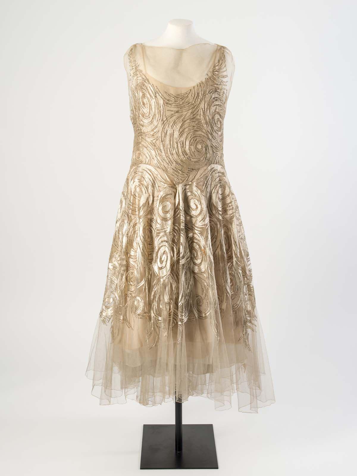 Madeleine vionnet cream silk net evening dress embroidered with
