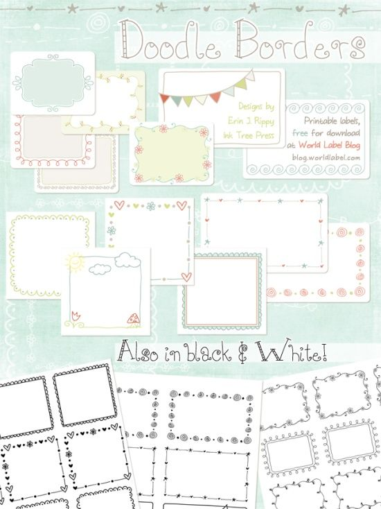Printable Doodle Borders Labels by InkTreePress (World label Blog - editable lined paper