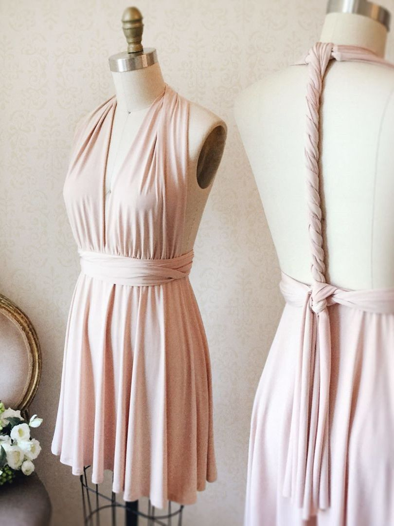 Cute short aline pink bridesmaid dress prom dresses fashion