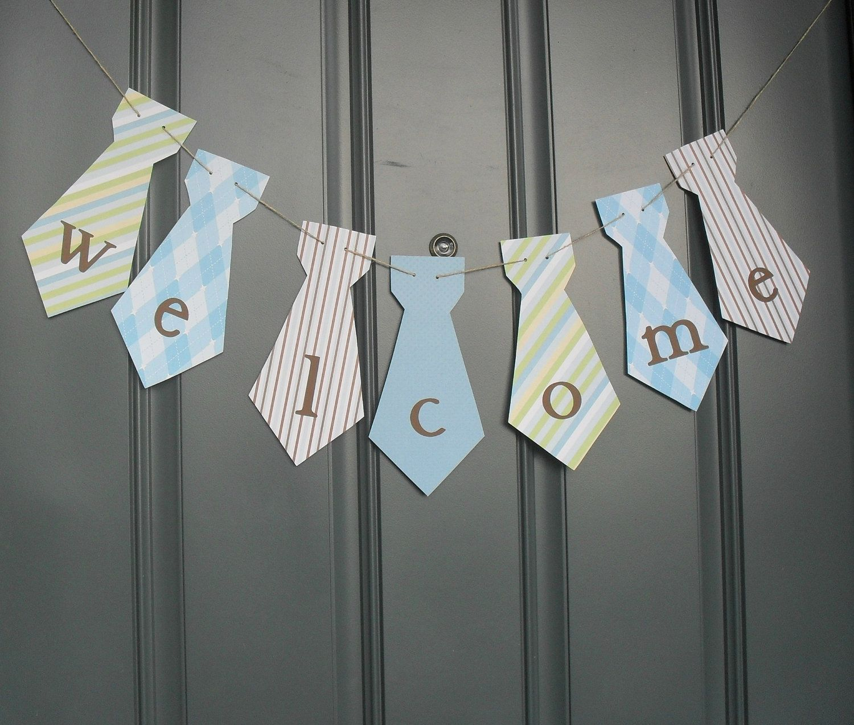 Little Man Necktie Banner WELCOME Birthday Party, Baby