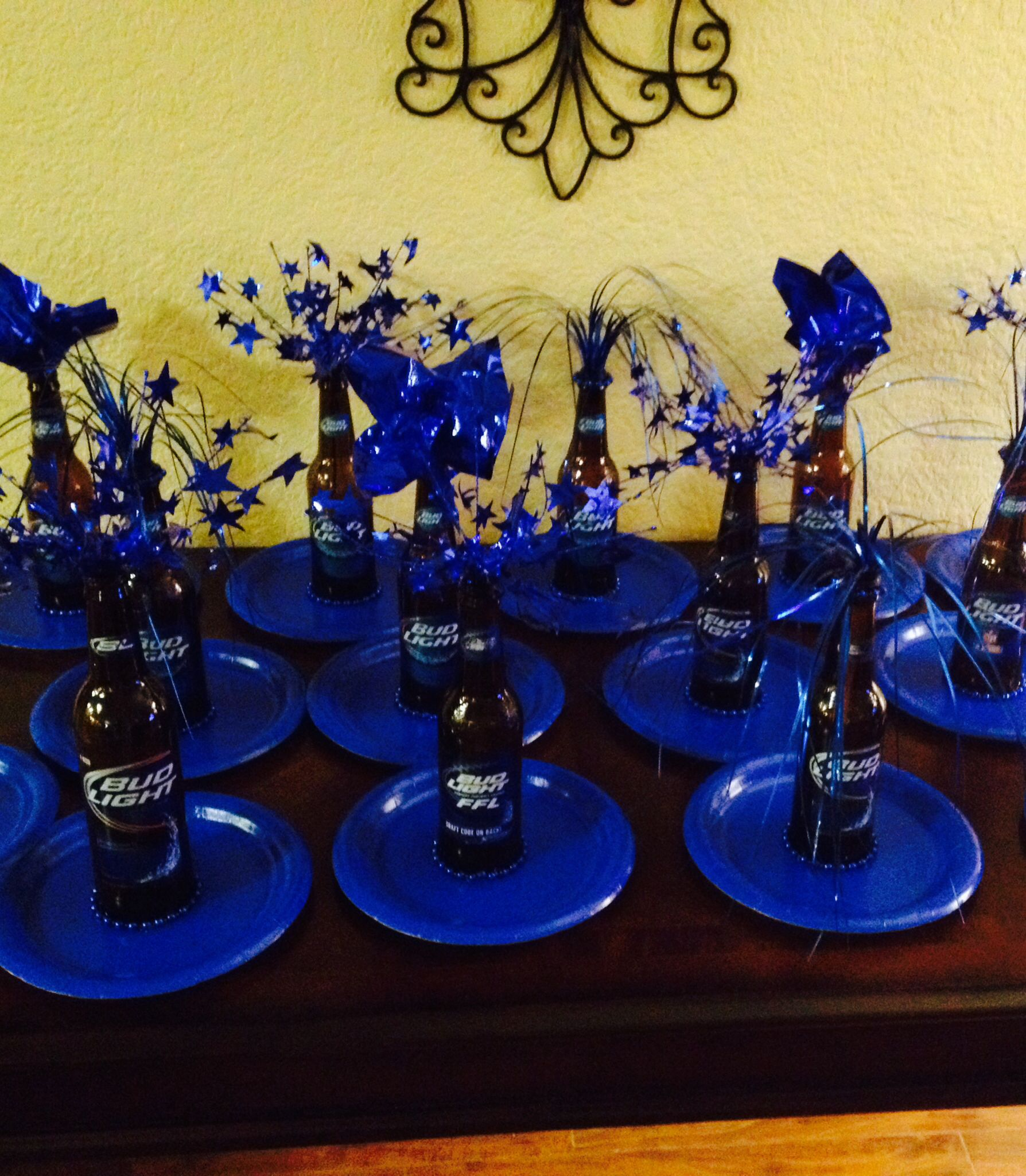 Adult party centerpiece with budlight beer bottle party for Beer bottle decoration ideas