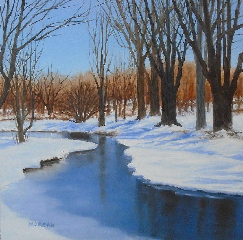Winter On The River Oil Painting Winter Landscape Frozen River Snow Tree Shadows Winter Landscape Colored Pencil Artwork Fine Art