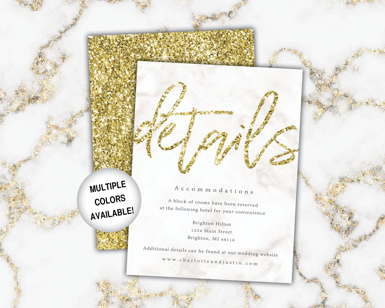 gold wedding details cards wedding details insert gold