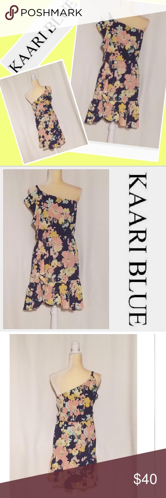 Kaari Blue Nwot Floral One Shoulderflowy Rdress Clothes Design Dress First Women Shopping [ 1740 x 580 Pixel ]