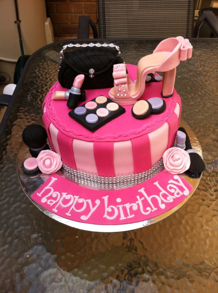Girly Birthday Cake Complete With Makeup High Heel And Clutch Bag