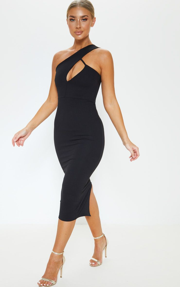 Black One Shoulder Asymmetric Neck Midi Dress Mid Length Dresses Midi Dress Dresses [ 1180 x 740 Pixel ]